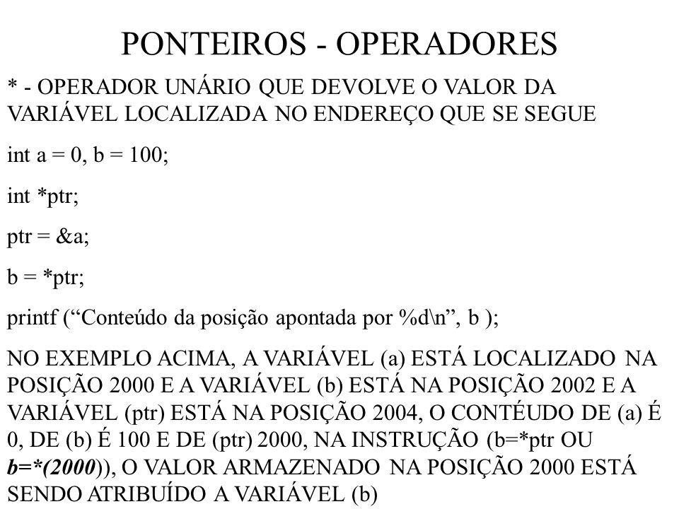PONTEIROS - OPERADORES * - OPERADOR UNÁRIO QUE DEVOLVE O VALOR DA VARIÁVEL LOCALIZADA NO ENDEREÇO QUE SE SEGUE int a = 0, b = 100; int *ptr; ptr = &a; b = *ptr; printf (Conteúdo da posição apontada por %d\n, b ); NO EXEMPLO ACIMA, A VARIÁVEL (a) ESTÁ LOCALIZADO NA POSIÇÃO 2000 E A VARIÁVEL (b) ESTÁ NA POSIÇÃO 2002 E A VARIÁVEL (ptr) ESTÁ NA POSIÇÃO 2004, O CONTÉUDO DE (a) É 0, DE (b) É 100 E DE (ptr) 2000, NA INSTRUÇÃO (b=*ptr OU b=*(2000)), O VALOR ARMAZENADO NA POSIÇÃO 2000 ESTÁ SENDO ATRIBUÍDO A VARIÁVEL (b)
