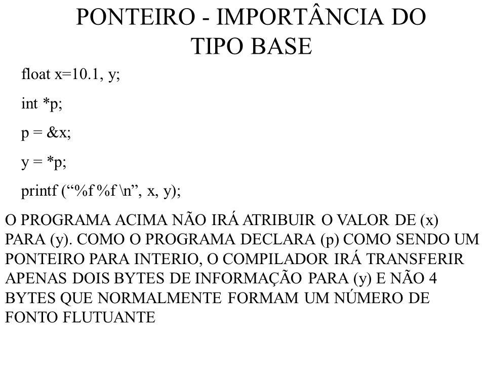 PONTEIRO - IMPORTÂNCIA DO TIPO BASE float x=10.1, y; int *p; p = &x; y = *p; printf (%f %f \n, x, y); O PROGRAMA ACIMA NÃO IRÁ ATRIBUIR O VALOR DE (x) PARA (y).