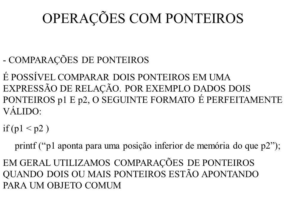 OPERAÇÕES COM PONTEIROS - COMPARAÇÕES DE PONTEIROS É POSSÍVEL COMPARAR DOIS PONTEIROS EM UMA EXPRESSÃO DE RELAÇÃO.