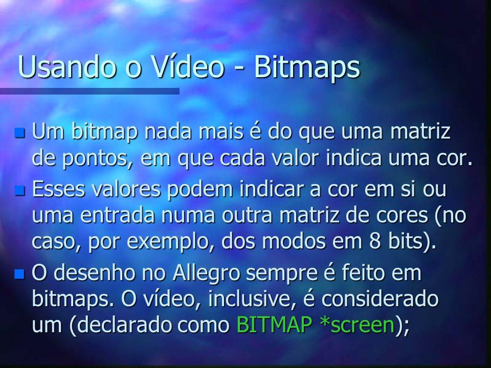 Usando o Vídeo - Bitmaps n Um bitmap nada mais é do que uma matriz de pontos, em que cada valor indica uma cor. n Esses valores podem indicar a cor em