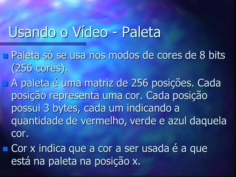 Usando o Vídeo - Paleta n Paleta só se usa nos modos de cores de 8 bits (256 cores). n A paleta é uma matriz de 256 posições. Cada posição representa