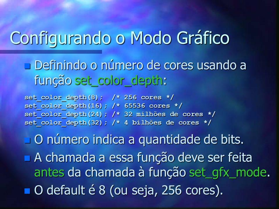 Esqueleto de Programa #include #include #define MAX_X 640 #define MAX_Y 480 int inicia(void) { allegro_init(); install_keyboard(); allegro_init(); install_keyboard(); install_mouse(); install_timer(); install_mouse(); install_timer(); if (install_sound(DIGI_AUTODETECT,MIDI_AUTODETECT,NULL) < 0) if (install_sound(DIGI_AUTODETECT,MIDI_AUTODETECT,NULL) < 0) { printf( Erro ao tentar iniciar placa de som!\n ); printf( Erro ao tentar iniciar placa de som!\n ); return(FALSE); return(FALSE); } set_volume(255,255); set_volume(255,255); set_color_depth(8); set_color_depth(8); if (set_gfx_mode(GFX_AUTODETECT,MAX_X,MAX_Y,0,0) < 0) if (set_gfx_mode(GFX_AUTODETECT,MAX_X,MAX_Y,0,0) < 0) { printf( Erro ao tentar iniciar modo de video!\n ); printf( Erro ao tentar iniciar modo de video!\n ); return(FALSE); return(FALSE); } return(TRUE); return(TRUE);} void main(void) { if (!inicia()) exit(-1); if (!inicia()) exit(-1); /* continua o programa */ /* continua o programa */ allegro_exit(); allegro_exit();}