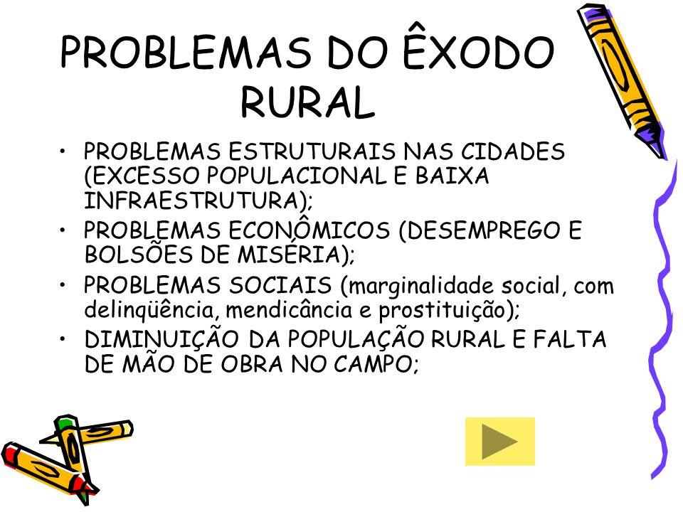 PROBLEMAS DO ÊXODO RURAL PROBLEMAS ESTRUTURAIS NAS CIDADES (EXCESSO POPULACIONAL E BAIXA INFRAESTRUTURA); PROBLEMAS ECONÔMICOS (DESEMPREGO E BOLSÕES D
