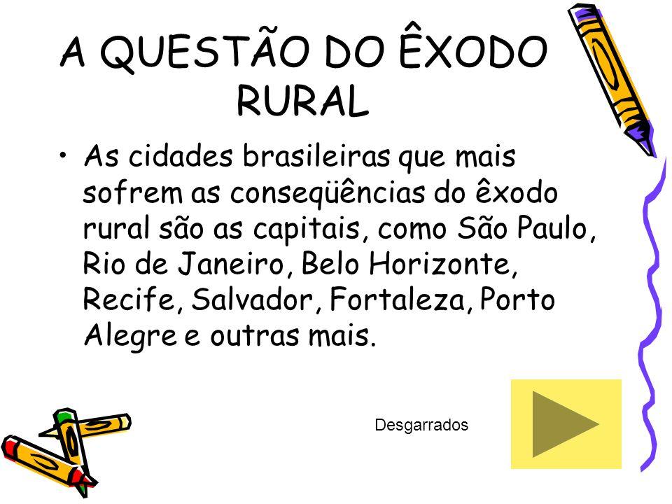 A QUESTÃO DO ÊXODO RURAL As cidades brasileiras que mais sofrem as conseqüências do êxodo rural são as capitais, como São Paulo, Rio de Janeiro, Belo