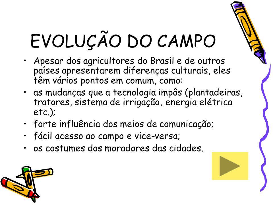 EVOLUÇÃO DO CAMPO Apesar dos agricultores do Brasil e de outros países apresentarem diferenças culturais, eles têm vários pontos em comum, como: as mu
