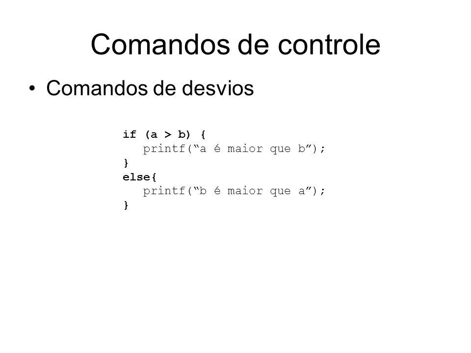 Comandos de controle Comandos de desvios if (a > b) { printf(a é maior que b); } else{ printf(b é maior que a); }