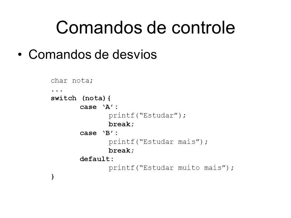 Comandos de controle Comandos de desvios char nota;... switch (nota){ case A: printf(Estudar); break; case B: printf(Estudar mais); break; default: pr