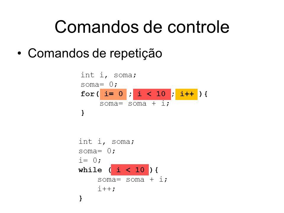 Comandos de controle Comandos de repetição int i, soma; soma= 0; for( i= 0 ; i < 10 ; i++ ){ soma= soma + i; } int i, soma; soma= 0; i= 0; while ( i <