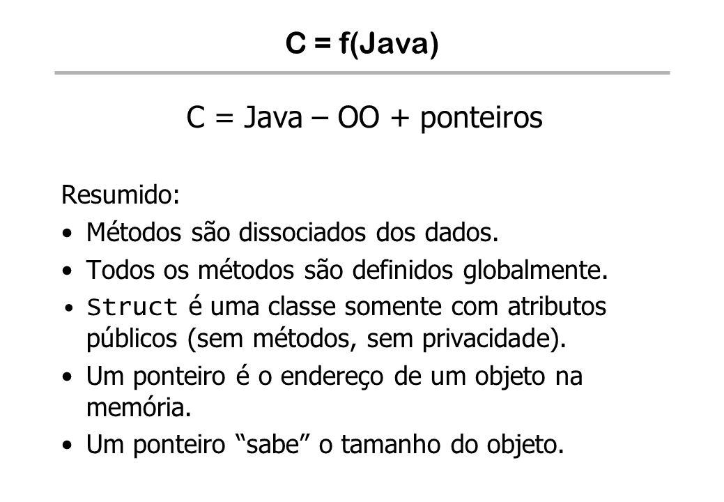 C = f(Java) C = Java – OO + ponteiros Resumido: Métodos são dissociados dos dados. Todos os métodos são definidos globalmente. Struct é uma classe som
