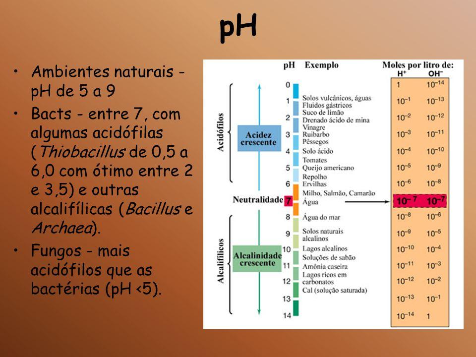pH Ambientes naturais - pH de 5 a 9 Bacts - entre 7, com algumas acidófilas (Thiobacillus de 0,5 a 6,0 com ótimo entre 2 e 3,5) e outras alcalifílicas