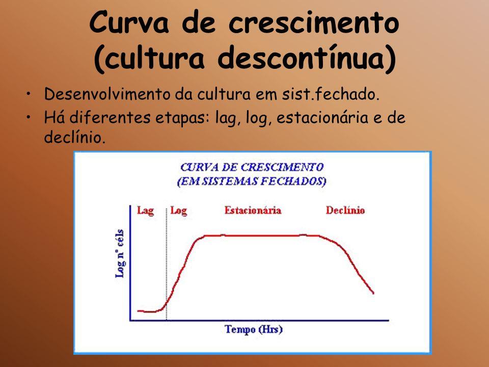 Curva de crescimento (cultura descontínua) Desenvolvimento da cultura em sist.fechado. Há diferentes etapas: lag, log, estacionária e de declínio.