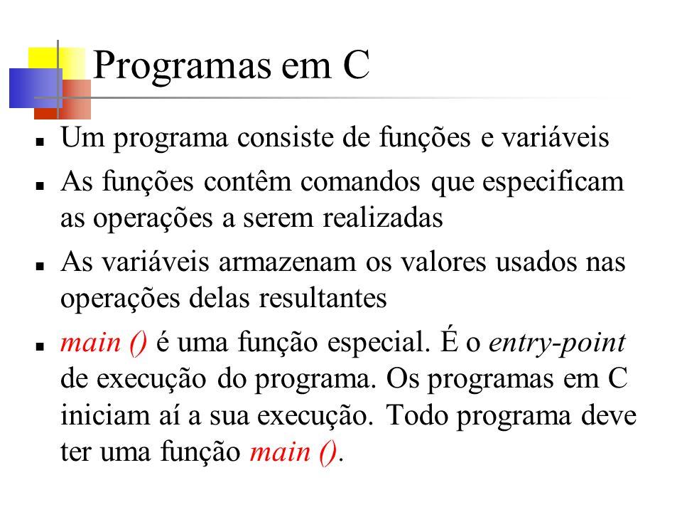 Detalhes do primeiro programa #include informa ao compilador para incluir informações da biblioteca padrão de E/S.