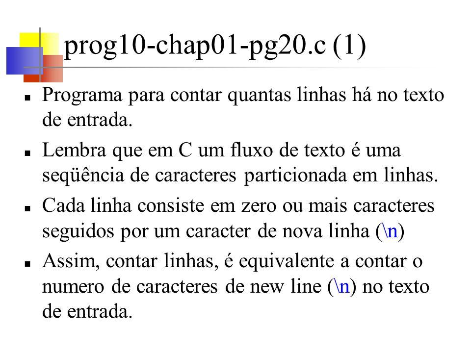 prog10-chap01-pg20.c (2) O comando if if (condition) statement Significado do if A condição entre parênteses é testada.