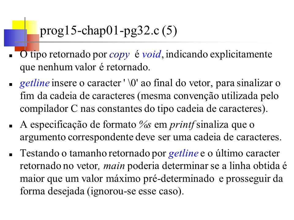 Variáveis externas e escopo (1) prog16-chap01-pg32.c As variáveis declaradas em uma função são privativas ou locais à função.