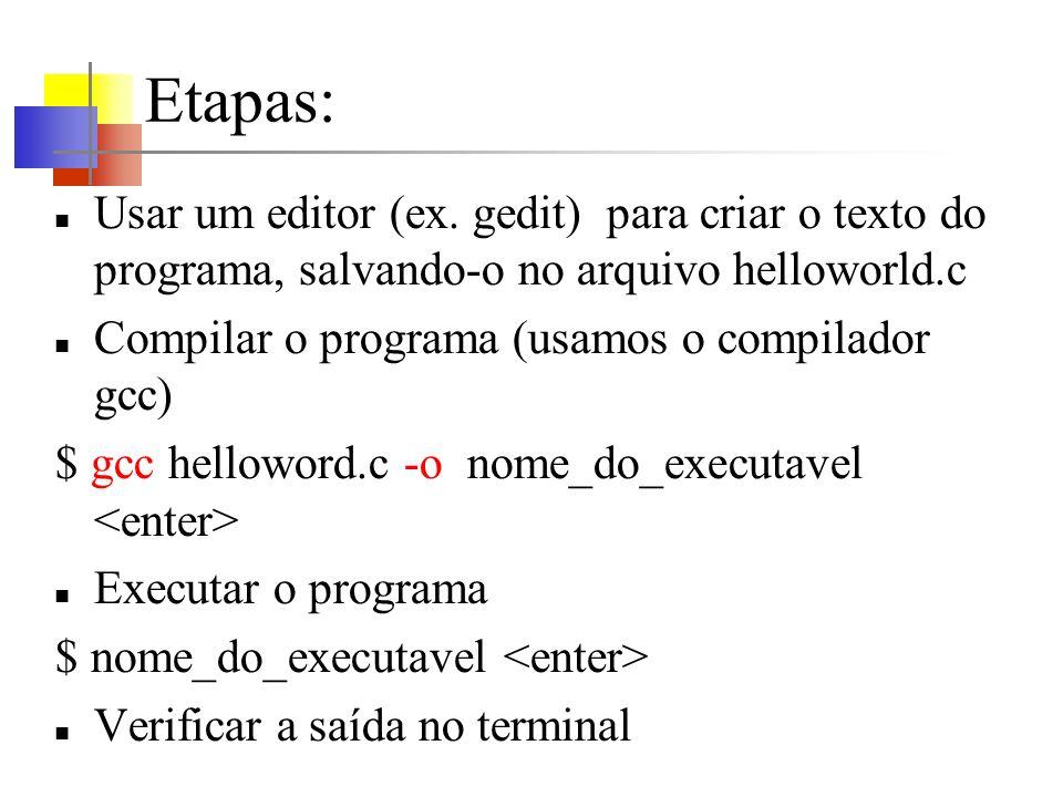 Integrate Development Environment Para facilitar o desenvolvimento de programas: Netbeans http://netbeans.org/http://netbeans.org/ Eclipse http://www.eclipse.org/http://www.eclipse.org/ Anjuta http://www.anjuta.org/http://www.anjuta.org/ Geany http://www.geany.org/http://www.geany.org/ Code::Blockshttp://www.codeblocks.org/http://www.codeblocks.org/ …