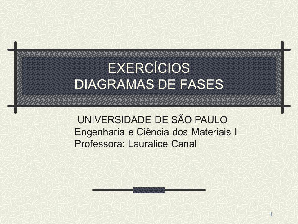 EXERCÍCIOS DIAGRAMAS DE FASES 1 UNIVERSIDADE DE SÃO PAULO Engenharia e Ciência dos Materiais I Professora: Lauralice Canal