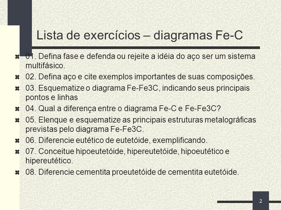 Lista de exercícios – diagramas Fe-C 01. Defina fase e defenda ou rejeite a idéia do aço ser um sistema multifásico. 02. Defina aço e cite exemplos im