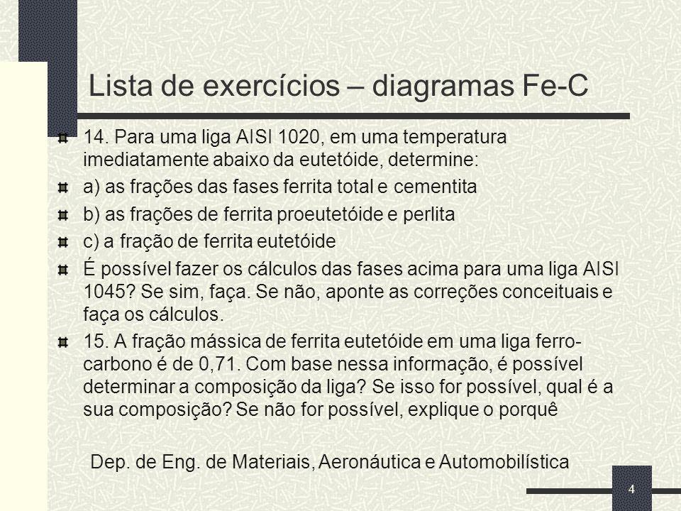 Lista de exercícios – diagramas Fe-C 14. Para uma liga AISI 1020, em uma temperatura imediatamente abaixo da eutetóide, determine: a) as frações das f