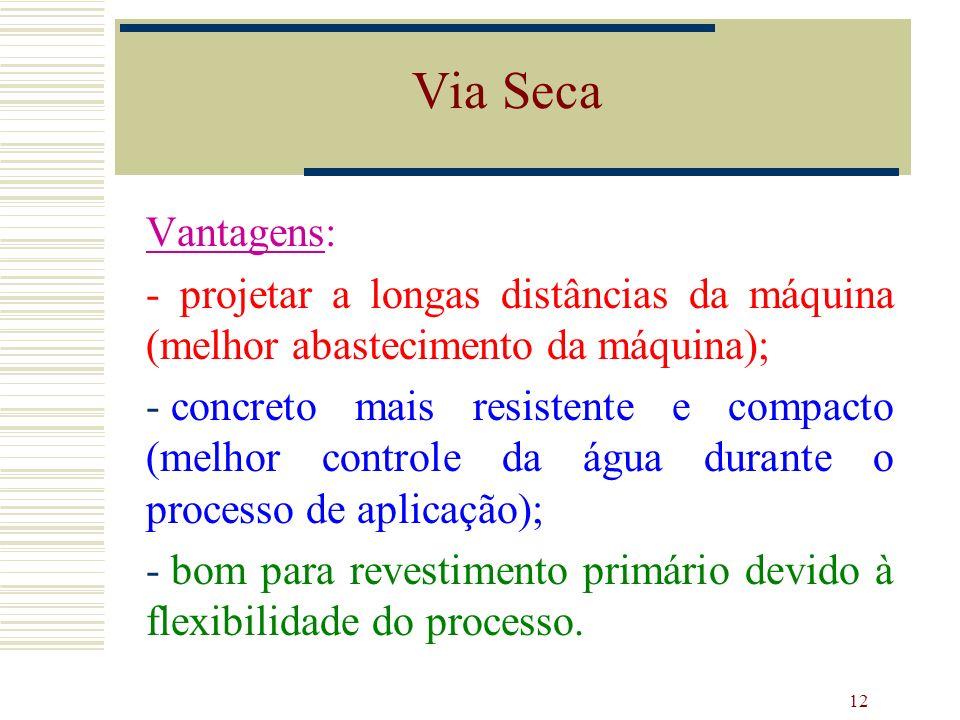 12 Vantagens: - projetar a longas distâncias da máquina (melhor abastecimento da máquina); - concreto mais resistente e compacto (melhor controle da á