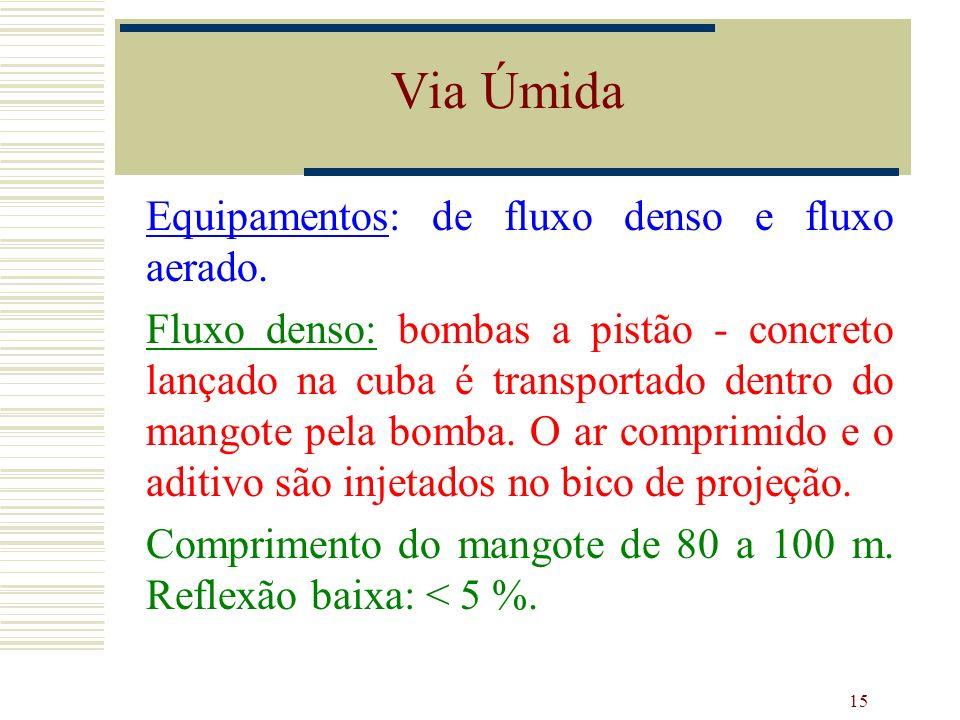 15 Equipamentos: de fluxo denso e fluxo aerado. Fluxo denso: bombas a pistão - concreto lançado na cuba é transportado dentro do mangote pela bomba. O