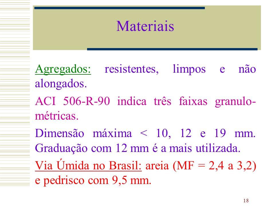 18 Agregados: resistentes, limpos e não alongados. ACI 506-R-90 indica três faixas granulo- métricas. Dimensão máxima < 10, 12 e 19 mm. Graduação com