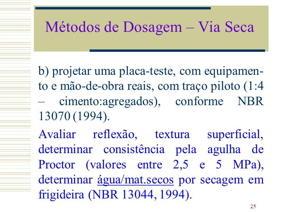 25 b) projetar uma placa-teste, com equipamen- to e mão-de-obra reais, com traço piloto (1:4 – cimento:agregados), conforme NBR 13070 (1994). Avaliar