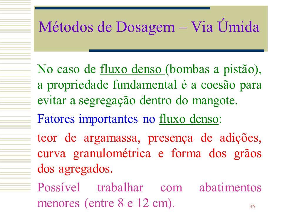 35 No caso de fluxo denso (bombas a pistão), a propriedade fundamental é a coesão para evitar a segregação dentro do mangote. Fatores importantes no f