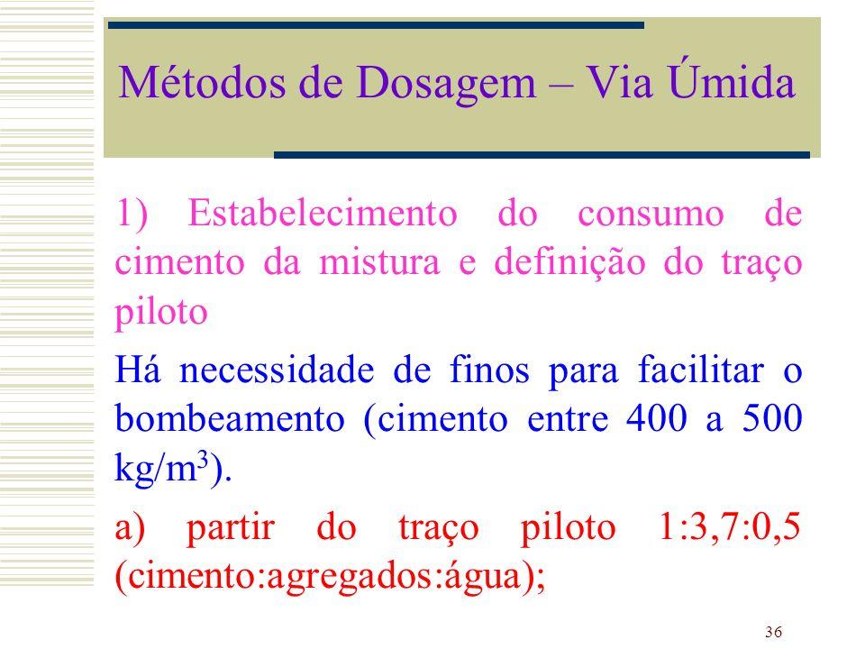 36 1) Estabelecimento do consumo de cimento da mistura e definição do traço piloto Há necessidade de finos para facilitar o bombeamento (cimento entre