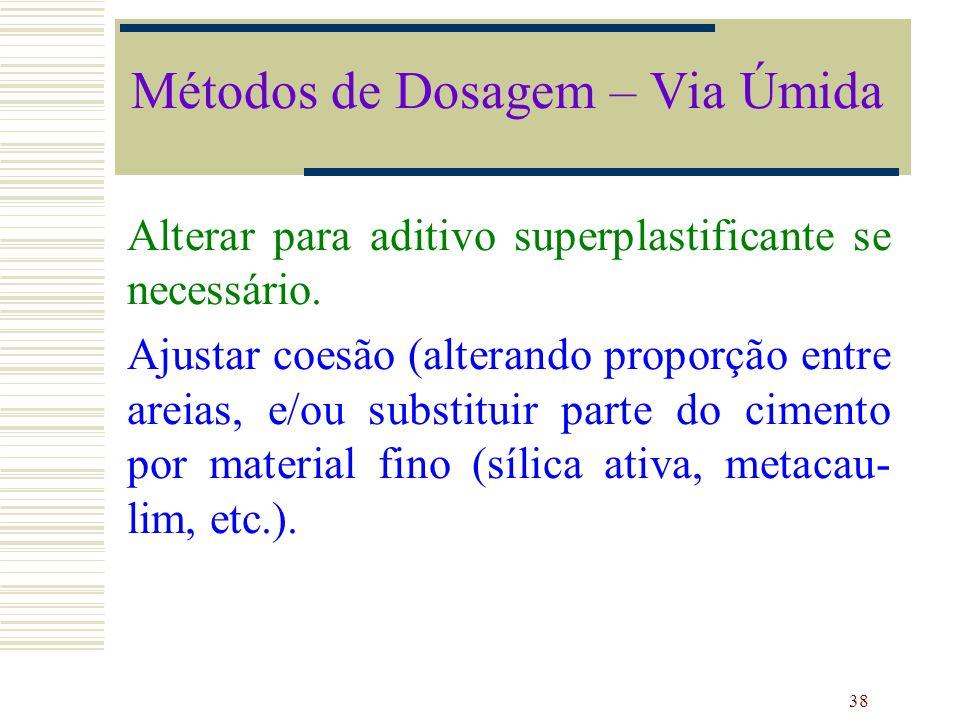 38 Alterar para aditivo superplastificante se necessário. Ajustar coesão (alterando proporção entre areias, e/ou substituir parte do cimento por mater