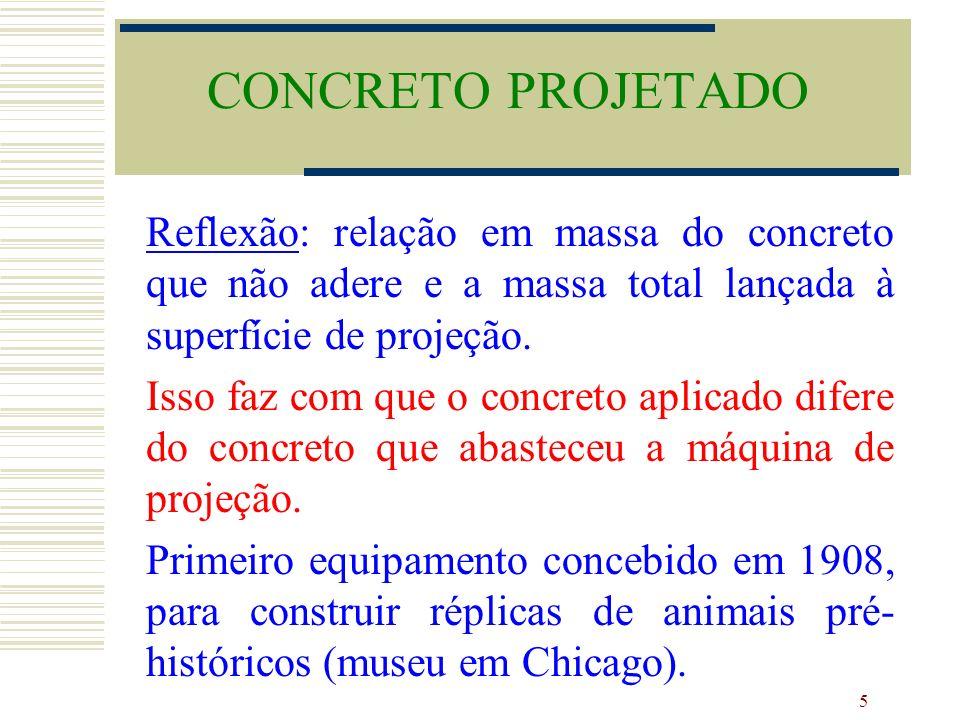 5 Reflexão: relação em massa do concreto que não adere e a massa total lançada à superfície de projeção. Isso faz com que o concreto aplicado difere d