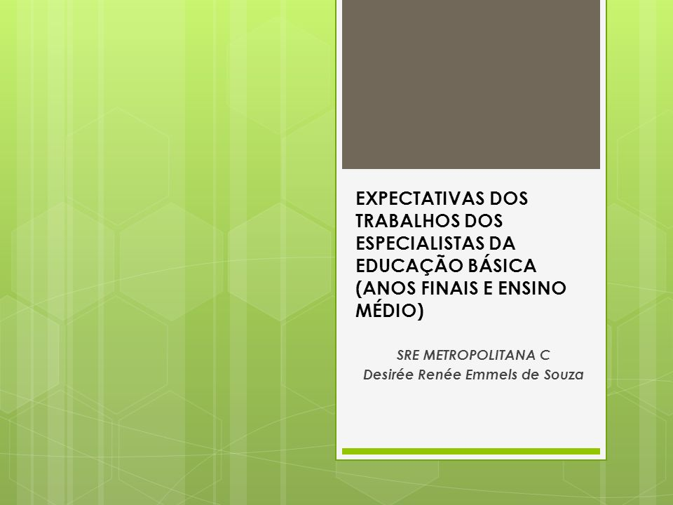 EXPECTATIVAS DOS TRABALHOS DOS ESPECIALISTAS DA EDUCAÇÃO BÁSICA (ANOS FINAIS E ENSINO MÉDIO) SRE METROPOLITANA C Desirée Renée Emmels de Souza