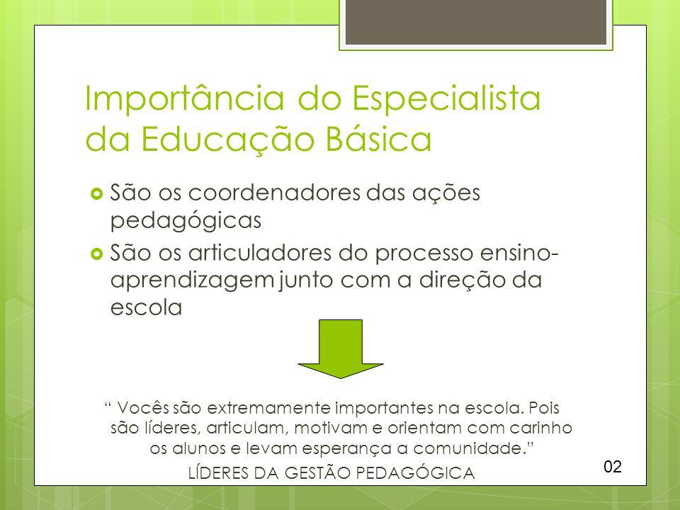Importância do Especialista da Educação Básica São os coordenadores das ações pedagógicas São os articuladores do processo ensino- aprendizagem junto