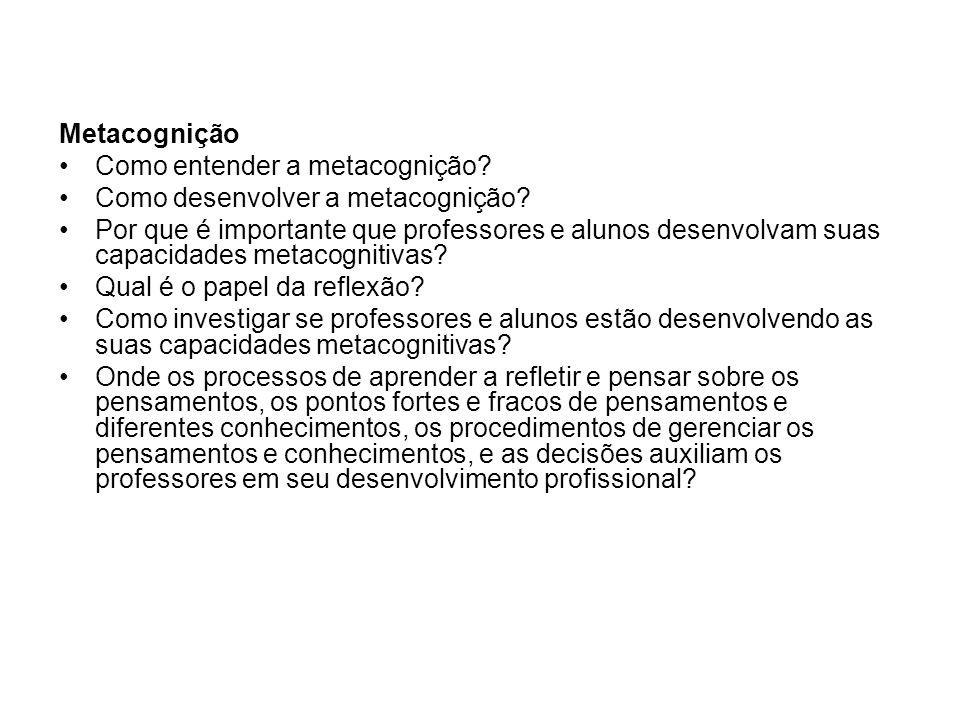 Metacognição Como entender a metacognição? Como desenvolver a metacognição? Por que é importante que professores e alunos desenvolvam suas capacidades