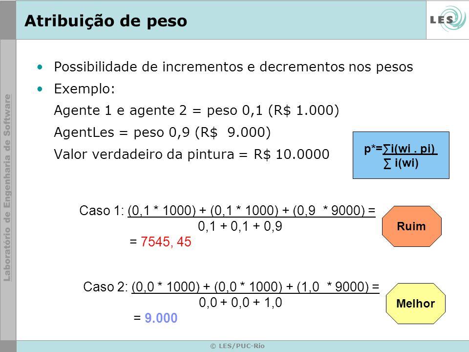 © LES/PUC-Rio Atribuição de peso Possibilidade de incrementos e decrementos nos pesos Exemplo: Agente 1 e agente 2 = peso 0,1 (R$ 1.000) AgentLes = peso 0,9 (R$ 9.000) Valor verdadeiro da pintura = R$ 10.0000 Ruim Melhor Caso 1: (0,1 * 1000) + (0,1 * 1000) + (0,9 * 9000) = 0,1 + 0,1 + 0,9 = 7545, 45 Caso 2: (0,0 * 1000) + (0,0 * 1000) + (1,0 * 9000) = 0,0 + 0,0 + 1,0 = 9.000 p*=i(wi.