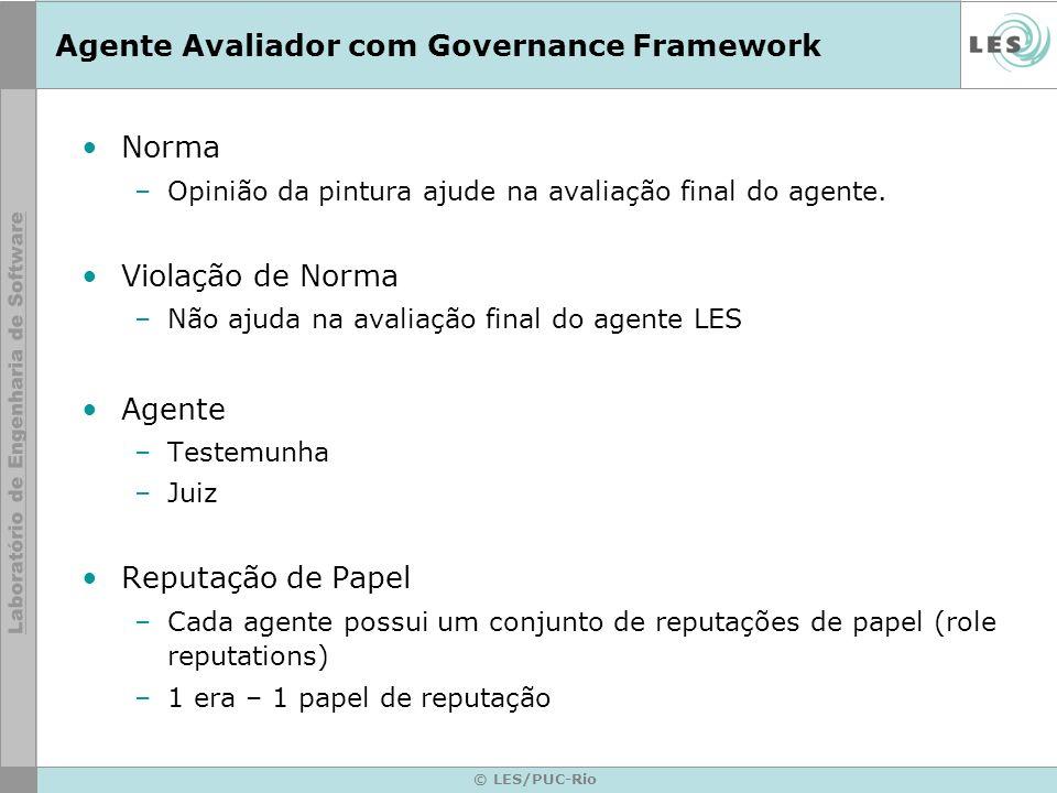 © LES/PUC-Rio Agente Avaliador com Governance Framework Norma –Opinião da pintura ajude na avaliação final do agente.
