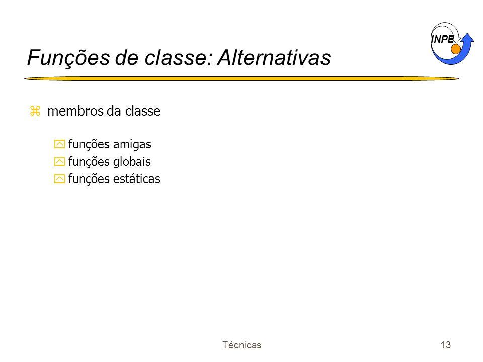 INPE Técnicas13 Funções de classe: Alternativas zmembros da classe yfunções amigas yfunções globais yfunções estáticas