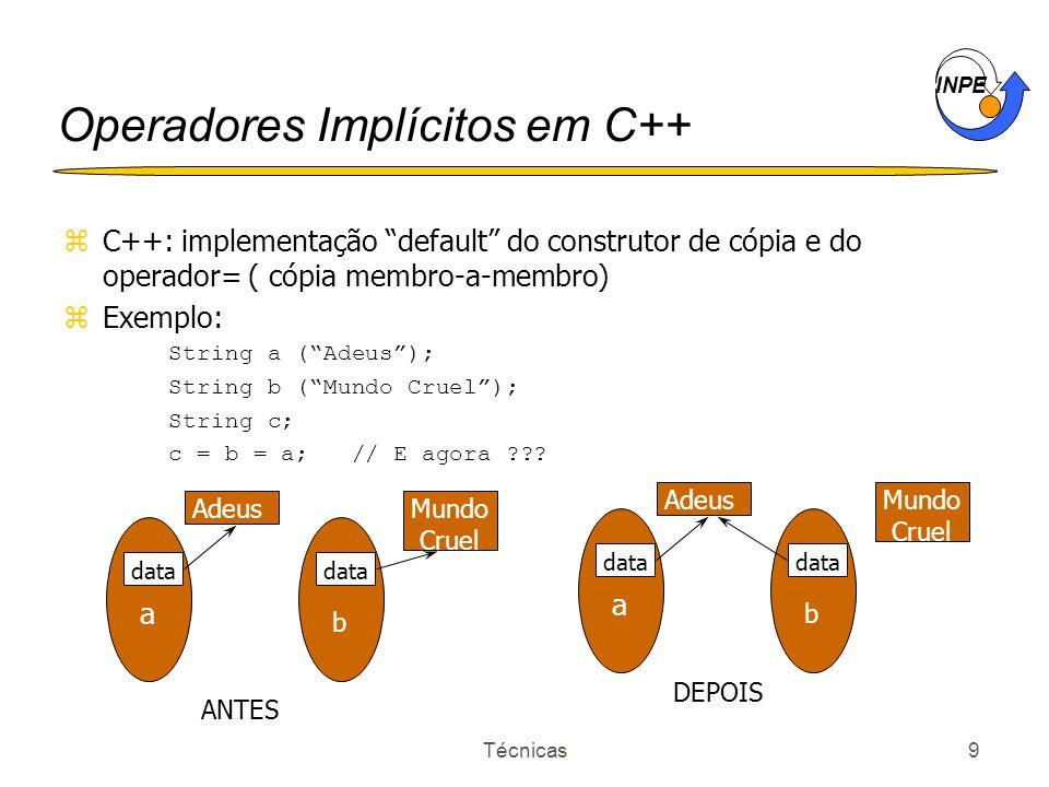 INPE Técnicas9 Operadores Implícitos em C++ zC++: implementação default do construtor de cópia e do operador= ( cópia membro-a-membro) zExemplo: Strin