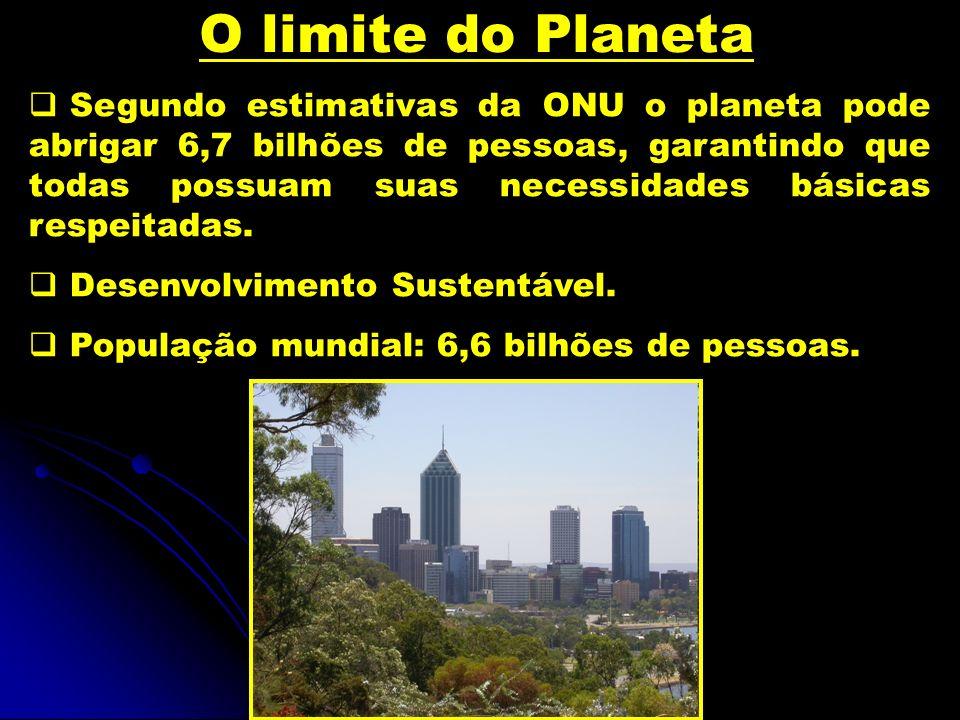 O limite do Planeta Segundo estimativas da ONU o planeta pode abrigar 6,7 bilhões de pessoas, garantindo que todas possuam suas necessidades básicas r