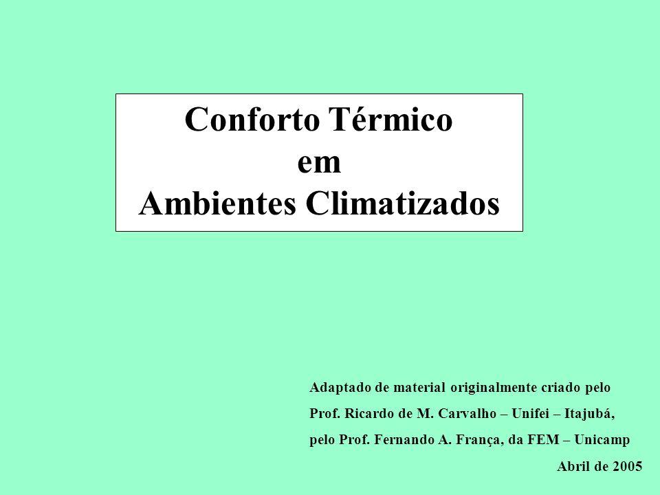 Conservação de Energia em Sistemas de Condicionamento Ambiental ASHRAE 55 Inverno: T op = 20 a 23,5 C, = 60% T op = 20,5 a 24,5 C, T d = 2 C ET * = 20 e 23,5 C Verão: T op = 22,5 a 26 C, = 60% T op = 23,5 a 27 C, T d = 2 C ET * = 23 e 26 C