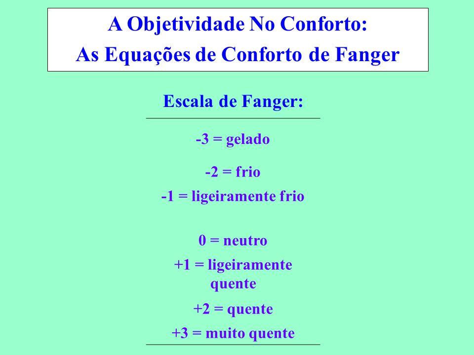 Conservação de Energia em Sistemas de Condicionamento Ambiental -3 = gelado -2 = frio -1 = ligeiramente frio 0 = neutro +1 = ligeiramente quente +2 =