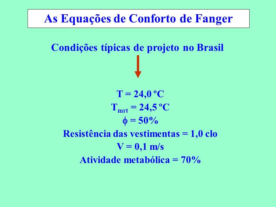 Conservação de Energia em Sistemas de Condicionamento Ambiental T = 24,0 ºC T mrt = 24,5 ºC = 50% Resistência das vestimentas = 1,0 clo V = 0,1 m/s At