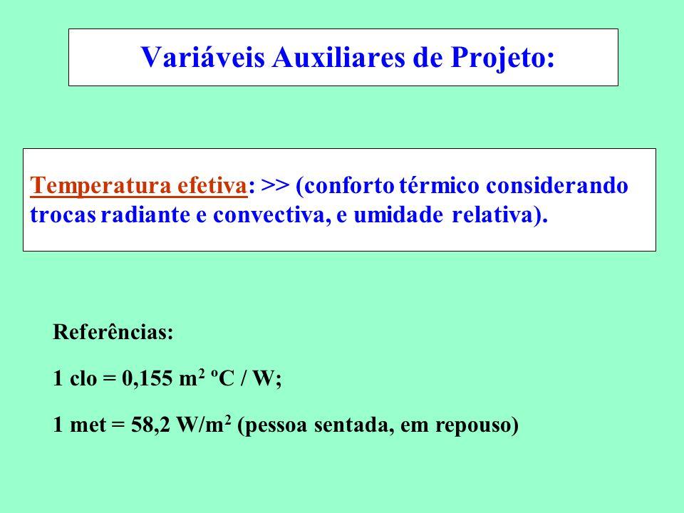Conservação de Energia em Sistemas de Condicionamento Ambiental Temperatura efetiva: >> (conforto térmico considerando trocas radiante e convectiva, e
