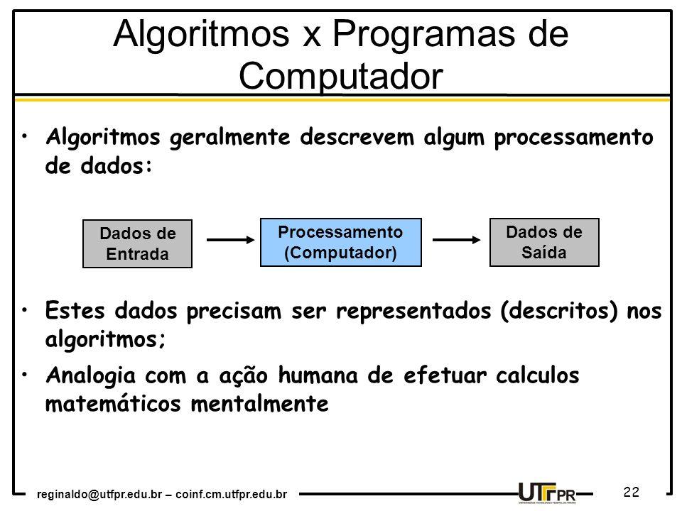 reginaldo@utfpr.edu.br – coinf.cm.utfpr.edu.br 22 Algoritmos geralmente descrevem algum processamento de dados: Estes dados precisam ser representados