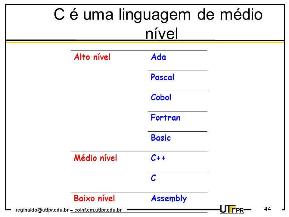 reginaldo@utfpr.edu.br – coinf.cm.utfpr.edu.br 44 C é uma linguagem de médio nível Alto nívelAda Pascal Cobol Fortran Basic Médio nívelC++ C Baixo nív