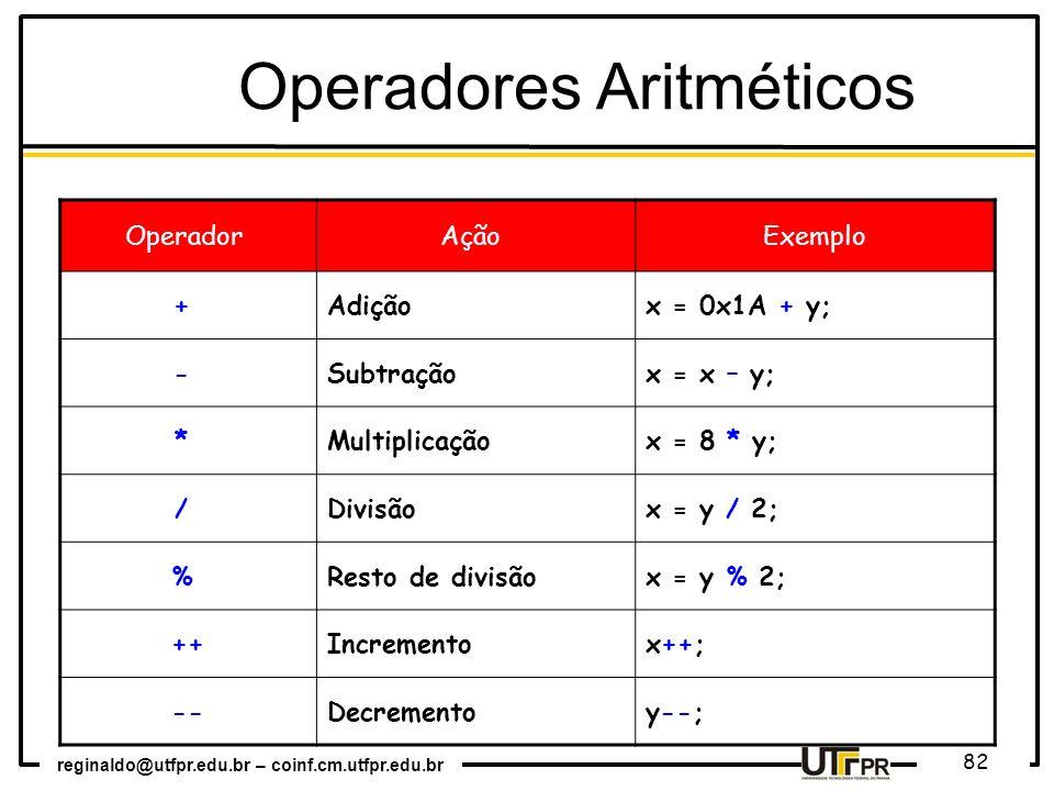 reginaldo@utfpr.edu.br – coinf.cm.utfpr.edu.br 82 Operador Ação Exemplo + Adiçãox = 0x1A + y; - Subtraçãox = x – y; * Multiplicaçãox = 8 * y; / Divisã