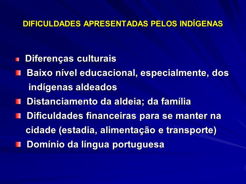 DIFICULDADES APRESENTADAS PELOS INDÍGENAS Diferenças culturais Diferenças culturais Baixo nível educacional, especialmente, dos Baixo nível educaciona
