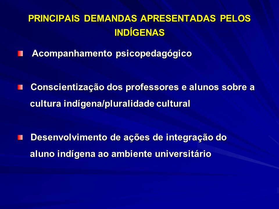 PRINCIPAIS DEMANDAS APRESENTADAS PELOS INDÍGENAS Acompanhamento psicopedagógico Acompanhamento psicopedagógico Conscientização dos professores e aluno