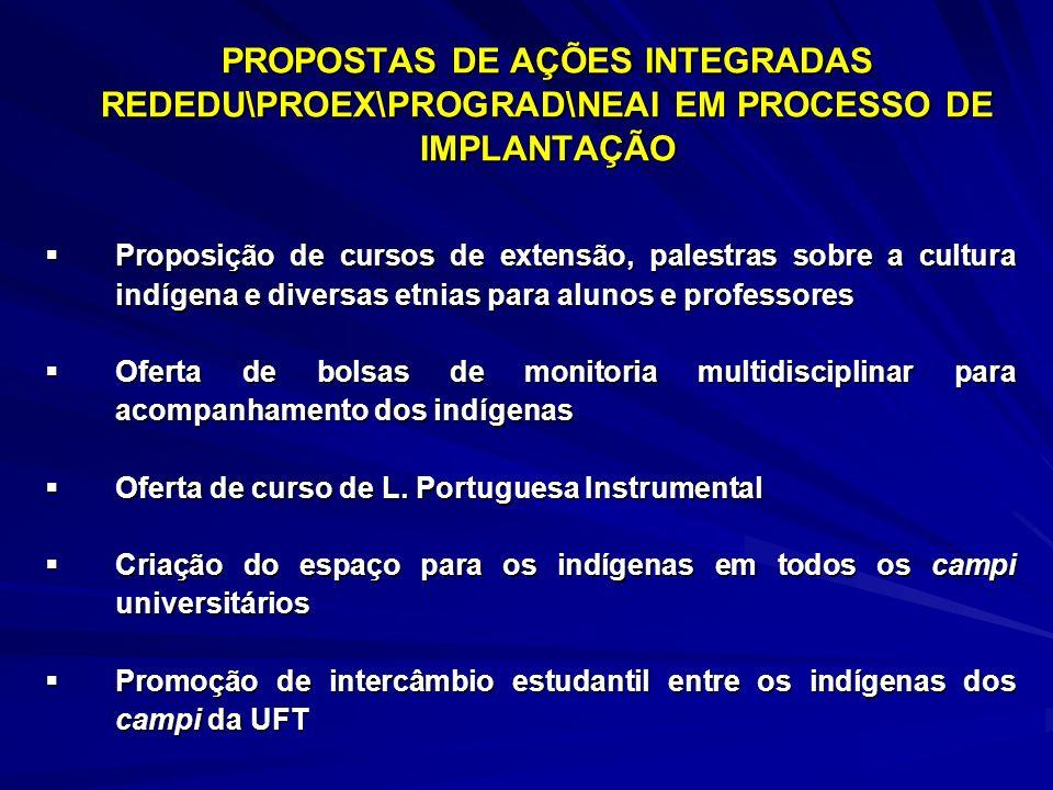 PROPOSTAS DE AÇÕES INTEGRADAS REDEDU\PROEX\PROGRAD\NEAI EM PROCESSO DE IMPLANTAÇÃO Proposição de cursos de extensão, palestras sobre a cultura indígen