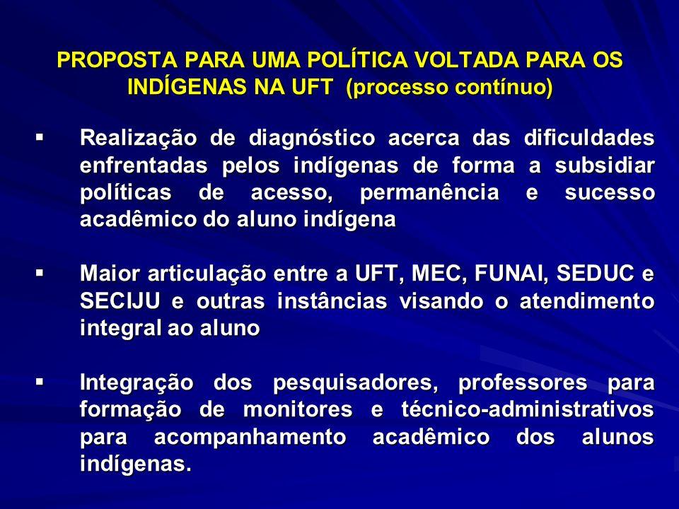 PROPOSTA PARA UMA POLÍTICA VOLTADA PARA OS INDÍGENAS NA UFT (processo contínuo) Realização de diagnóstico acerca das dificuldades enfrentadas pelos in