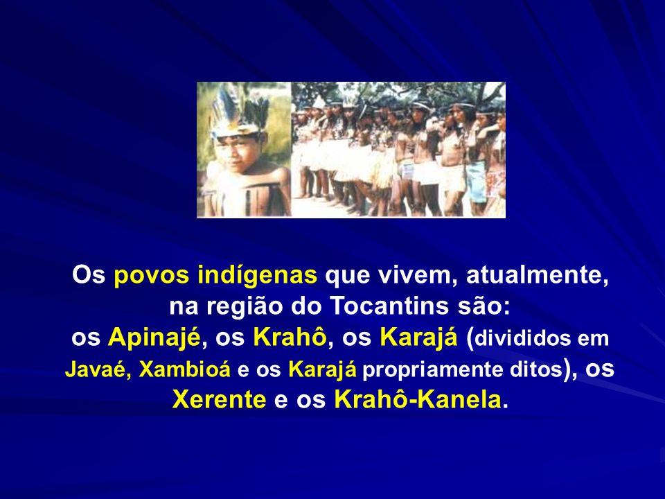 Os povos indígenas que vivem, atualmente, na região do Tocantins são: os Apinajé, os Krahô, os Karajá ( divididos em Javaé, Xambioá e os Karajá propri